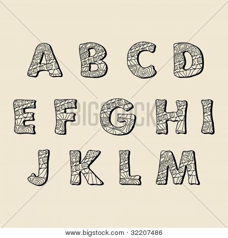 Fonte desenhada do lado bonito. Letras de vetor definido A-M
