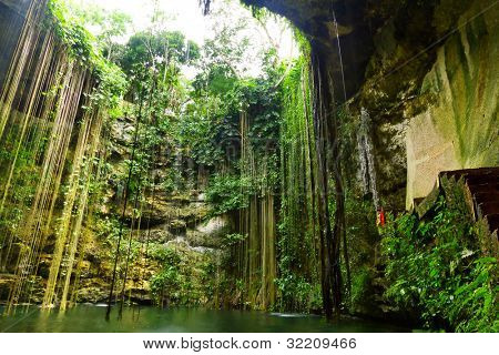 Ik-Kil Cenote near Chichen Itza in Mexico