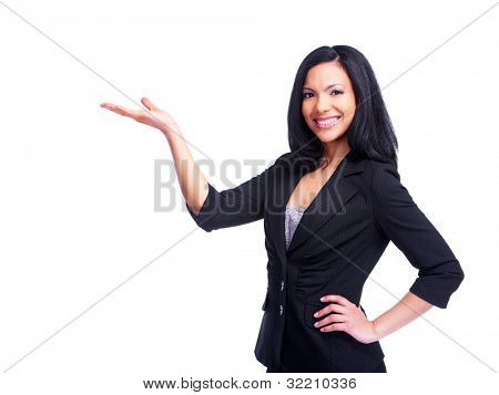 Young hispanic Business Woman showing Exemplar. isolated on white Background.