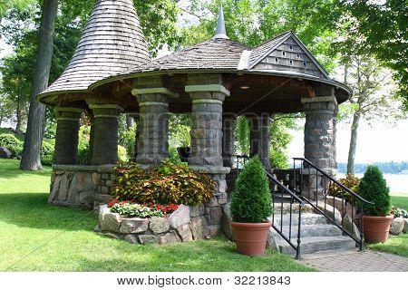 an old stone garden gazebo