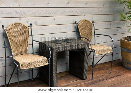 Chairs And Table On The Patio