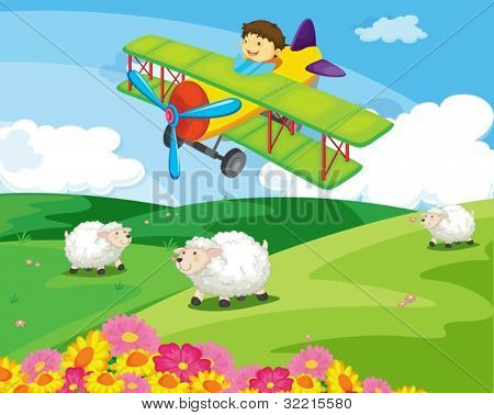 Boy flying over a field with sheep