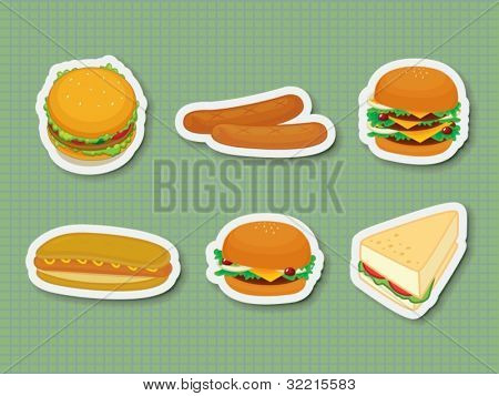 Illustration of fast food stickers