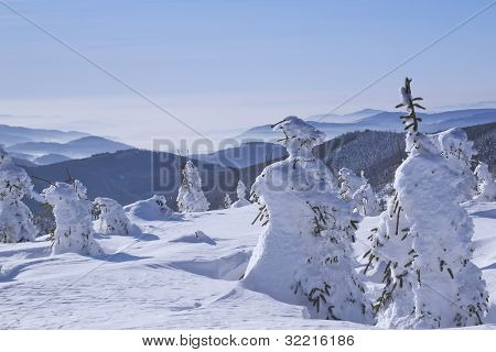 Winter View Of Snow Covered Mountains