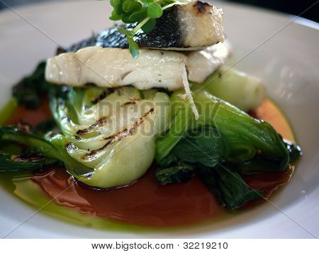 Fish And Bok Choy On A Plate