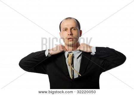 Businessman With Gallow Tie Suffocating And Trying To Free Himself