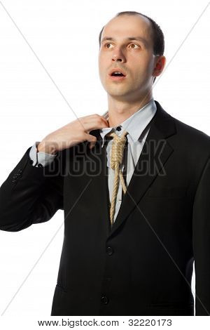 Businessman With Gallow Tie Taking A Breath