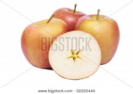 Braeburn Apples On A White Background