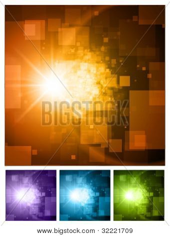 Abstract 3d virtual space vector backgrounds set. Eps 10.