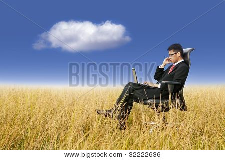 Businessman Working Anywhere