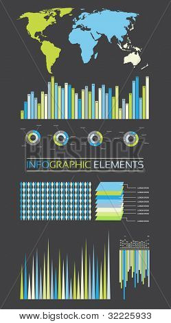 Collection Of Diagrams, Charts and Globe - Infographic Elements - Vector Illustration