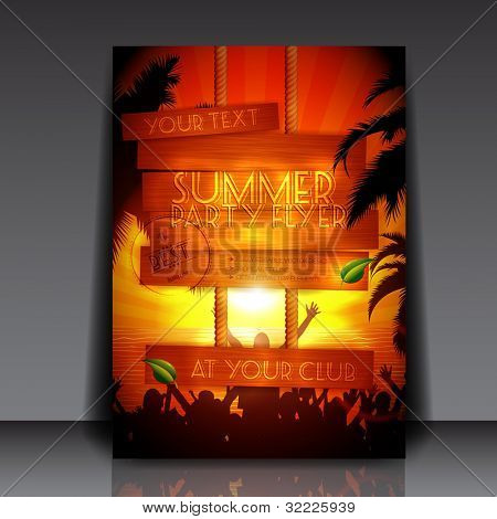 Party people on the beach in summer - Fully Editable Party Flyer - EPS10 vector illustration