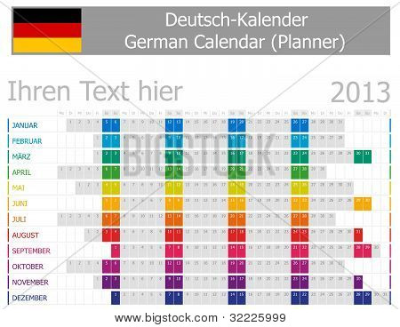 2013 Type-1 German year planner months are horizontal
