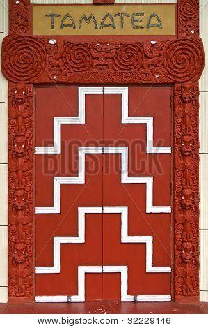 Tamatea, Otakou Marae, Entrance Door To Maori Meeting House