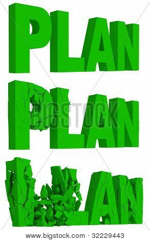 Cracking and crumbling of the word Plan