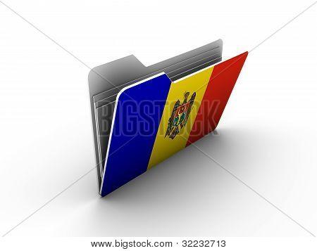 Folder Icon With Flag Of Moldova