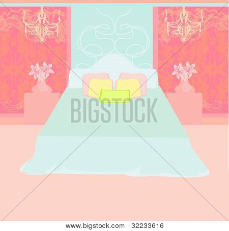 Bedroom interior with a large double bedvector
