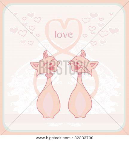 cute cats in love card