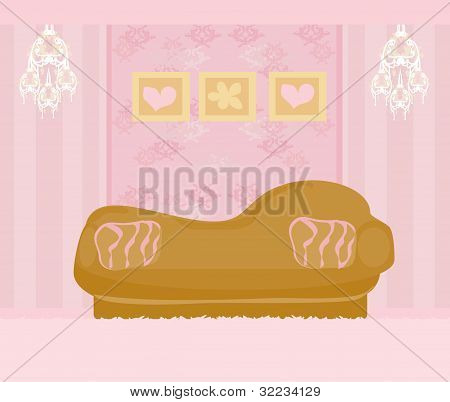 Fashionable interior of living room - vector