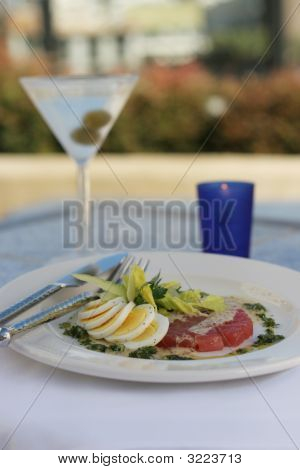 Hard Boiled Egg And Tuna Carpaccio