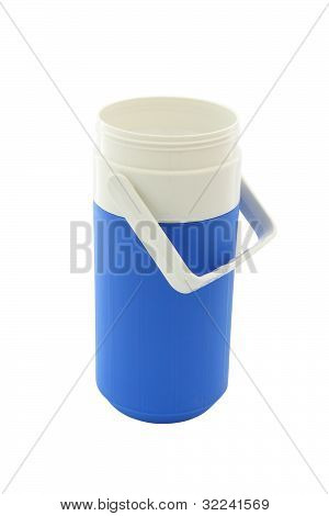 Small blue can plastic cooler opened on white background.