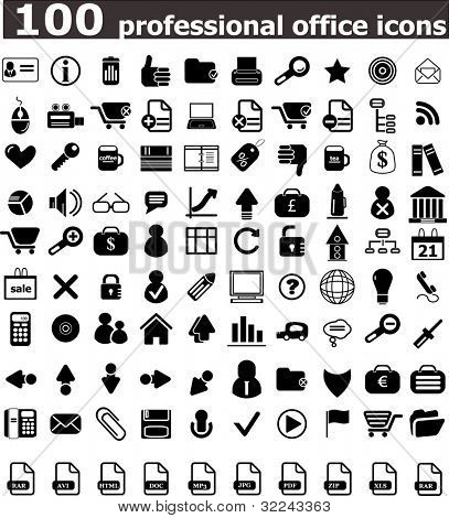 100 office professional icons - vector web set (easy edit)