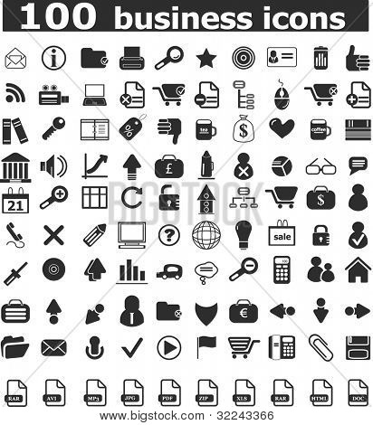 100 business professional icons - vector web set