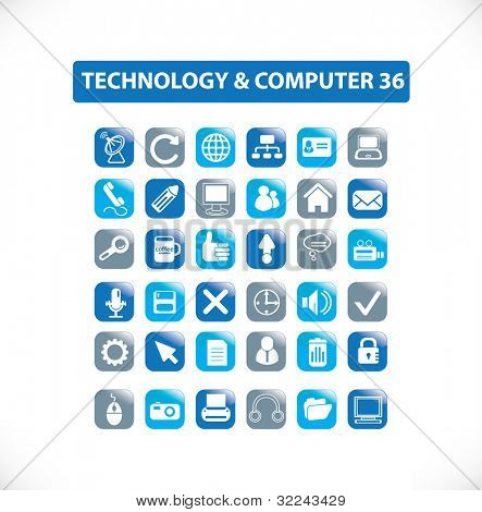 technology and computer icon set 36 vol. 11 - vector easy edit