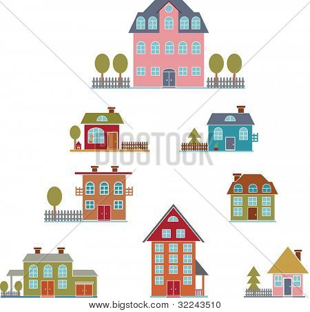 american premium luxury houses set -vector easy edit