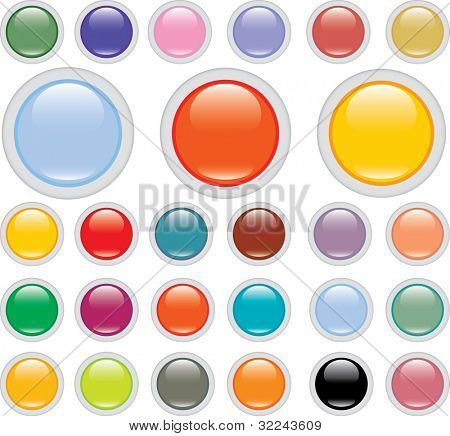 extra big glossy button vector set