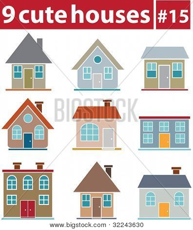 9 cute houses # 15 - vector set (easy to edit)