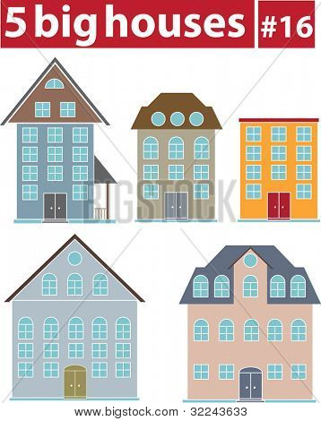 5 big houses # 16 - vector set (easy to edit)