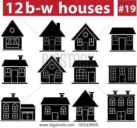12 black-white houses # 19 - vector set (easy to edit).