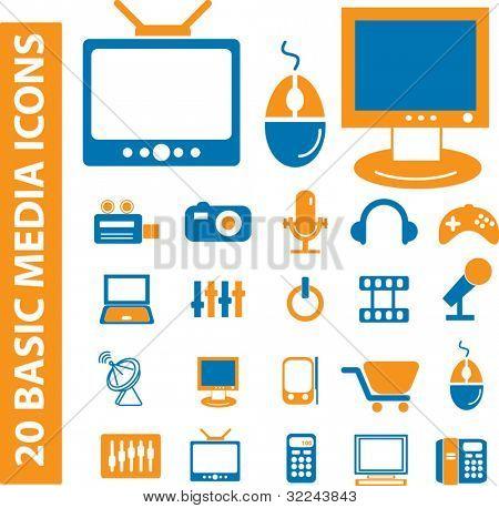 20 basic media icons - vector set