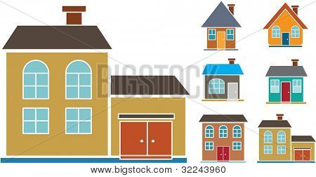 6 old school houses. Vector