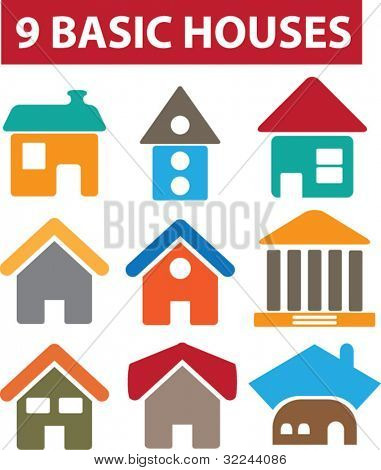 9 basic houses.vector