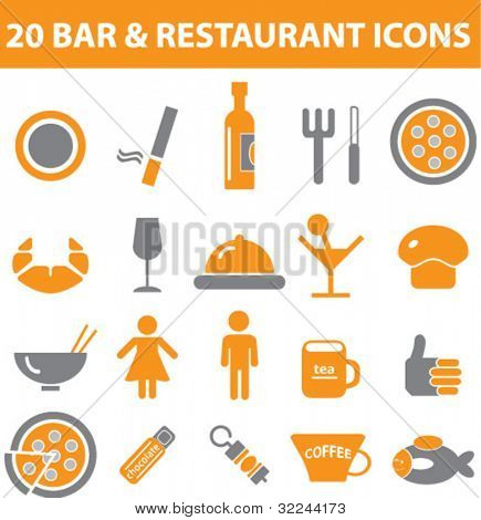 bar and restaurant signs - vector set # 25