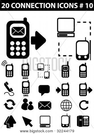 connection icons / black-white vector set