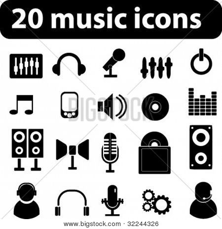 20 music vector icons - minimal black series. see more in my portfolio