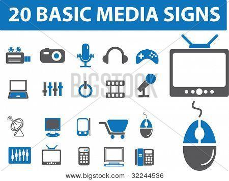 20 basic media signs.vector
