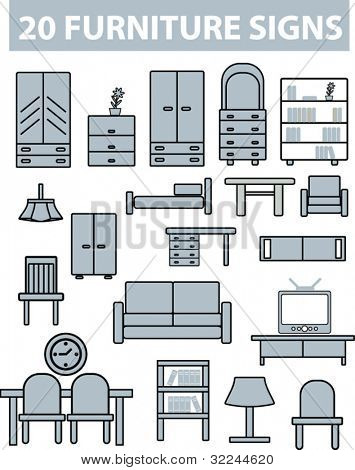 20 furniture signs.vector