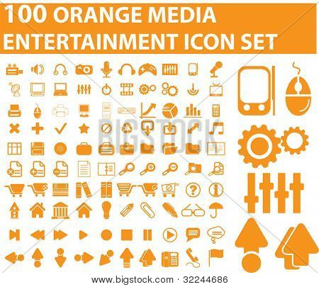 100 orange media icons. raster version. see vector version in my portfolio