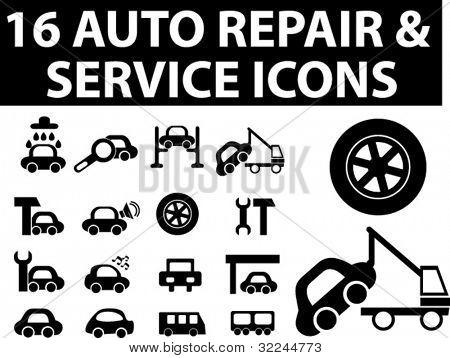 16 auto repair & service icons. vector