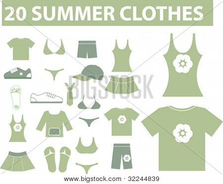20 summer clothes. green series. vector. visit my portfolio for more signs