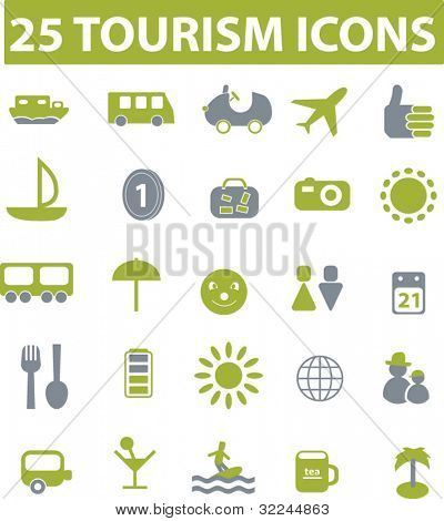 25 tourism icons. green series. vector. please, visit my portfolio to find more similar.