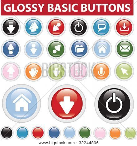 glossy basic buttons. vector. easy to edit