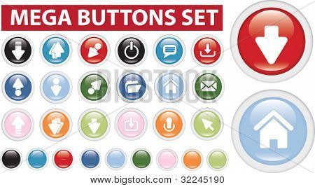 glossy buttons - mega set . vector. easy to edit