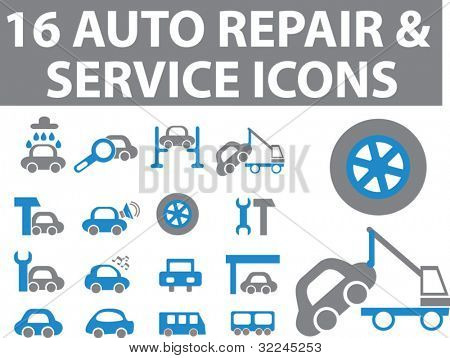 16 auto repair & service icons. blue-grey version. vector