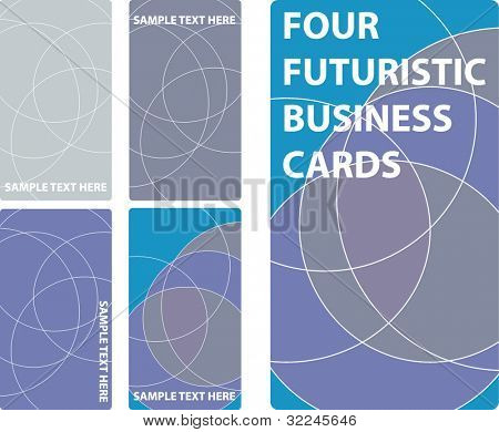 4 futuristic business cards. vector