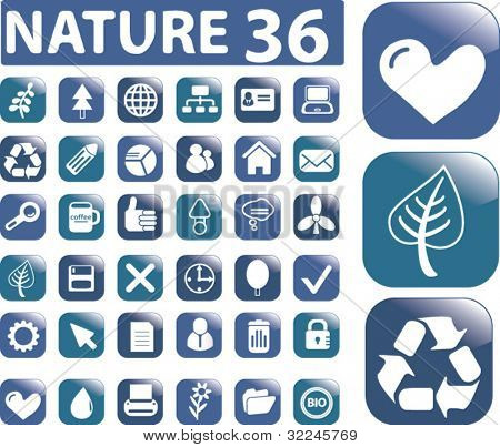 nature 36 buttons set. vector